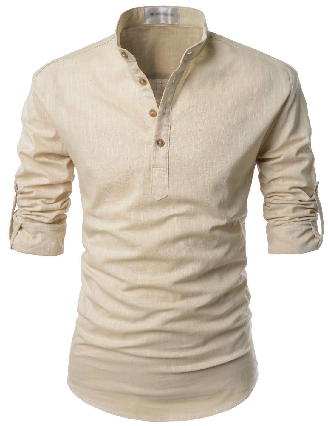 c32d8923e84d5 Mens Beige Henley Mandarin Collar Roll-up Long Sleeved Linen Shirts