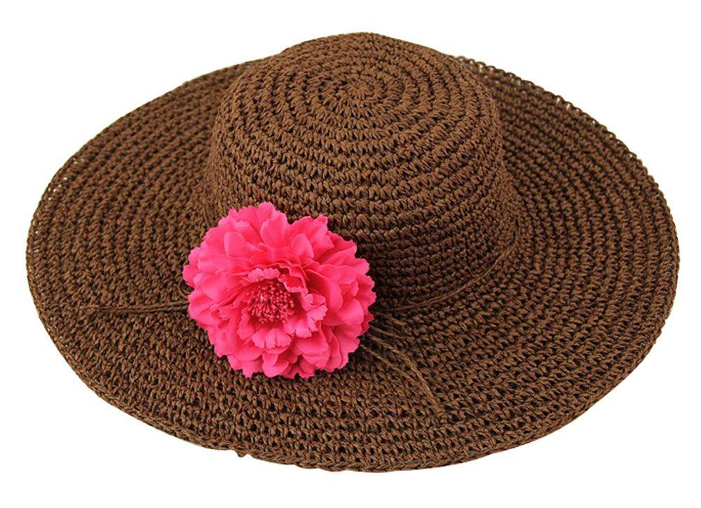 Coffee Womens Bohemia Knit Folding Beach Sun Large Brim Straw Hat Cap