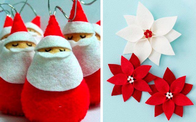 Adornos en fieltro y crochet para un rbol de Navidad DIY Ideas