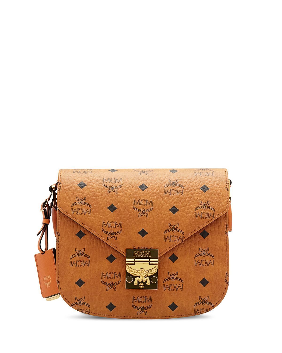 MCM Patricia Visetos Small Shoulder Bag, Cognac | Shoulder