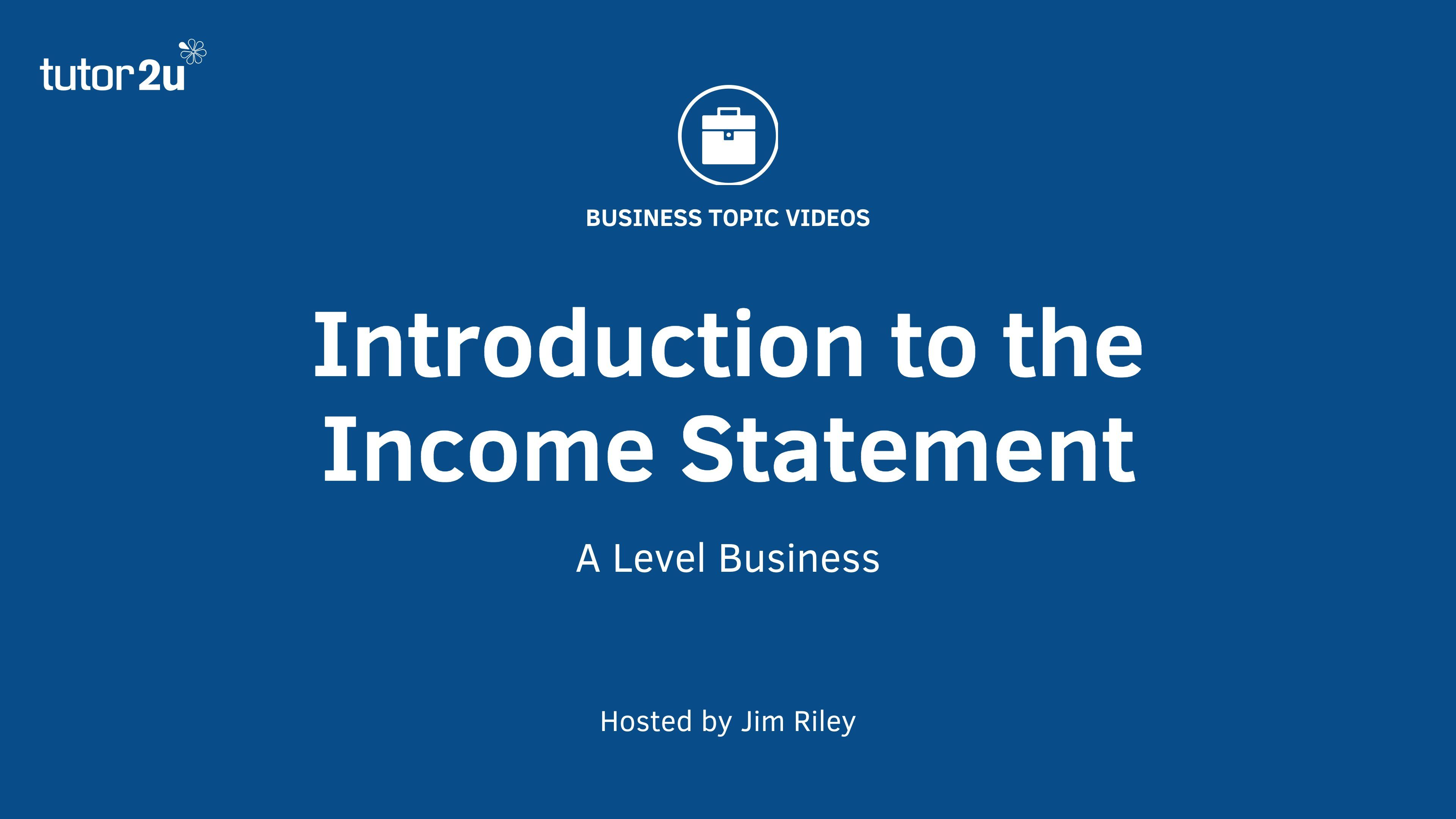 Introduction To The Income Statement   Unit  Chapter
