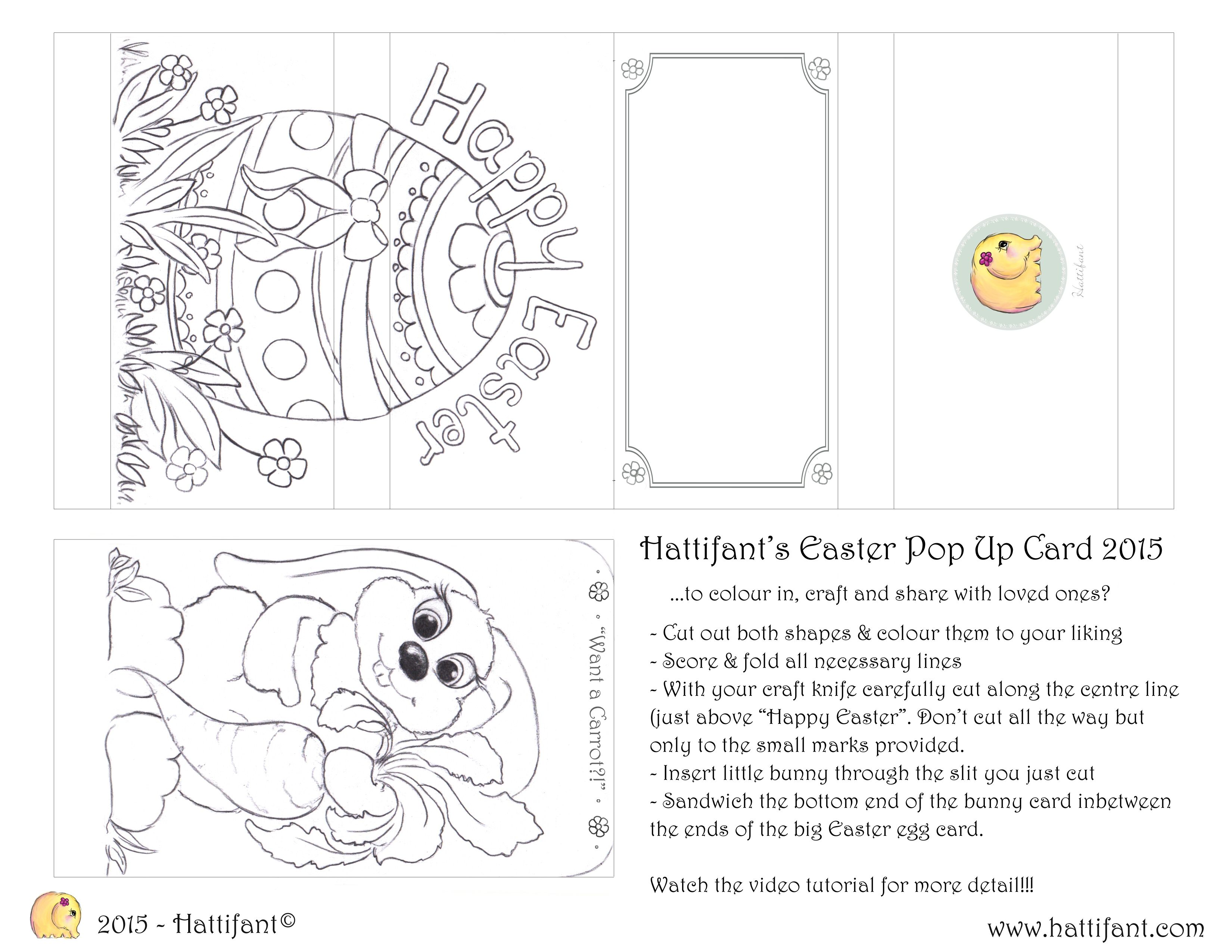 Hattifant S Easter Bunny Sliding Pop Up Card Hattifant Pop Up Card Templates Easter Printables Free Happy Birthday Cards Printable
