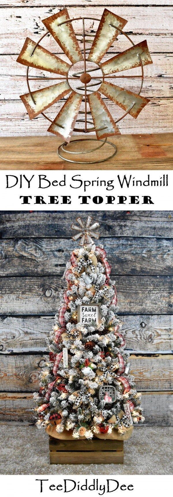 DIY Bed Spring Windmill Christmas Tree Topper - Vintage, Rustic, Farmhouse