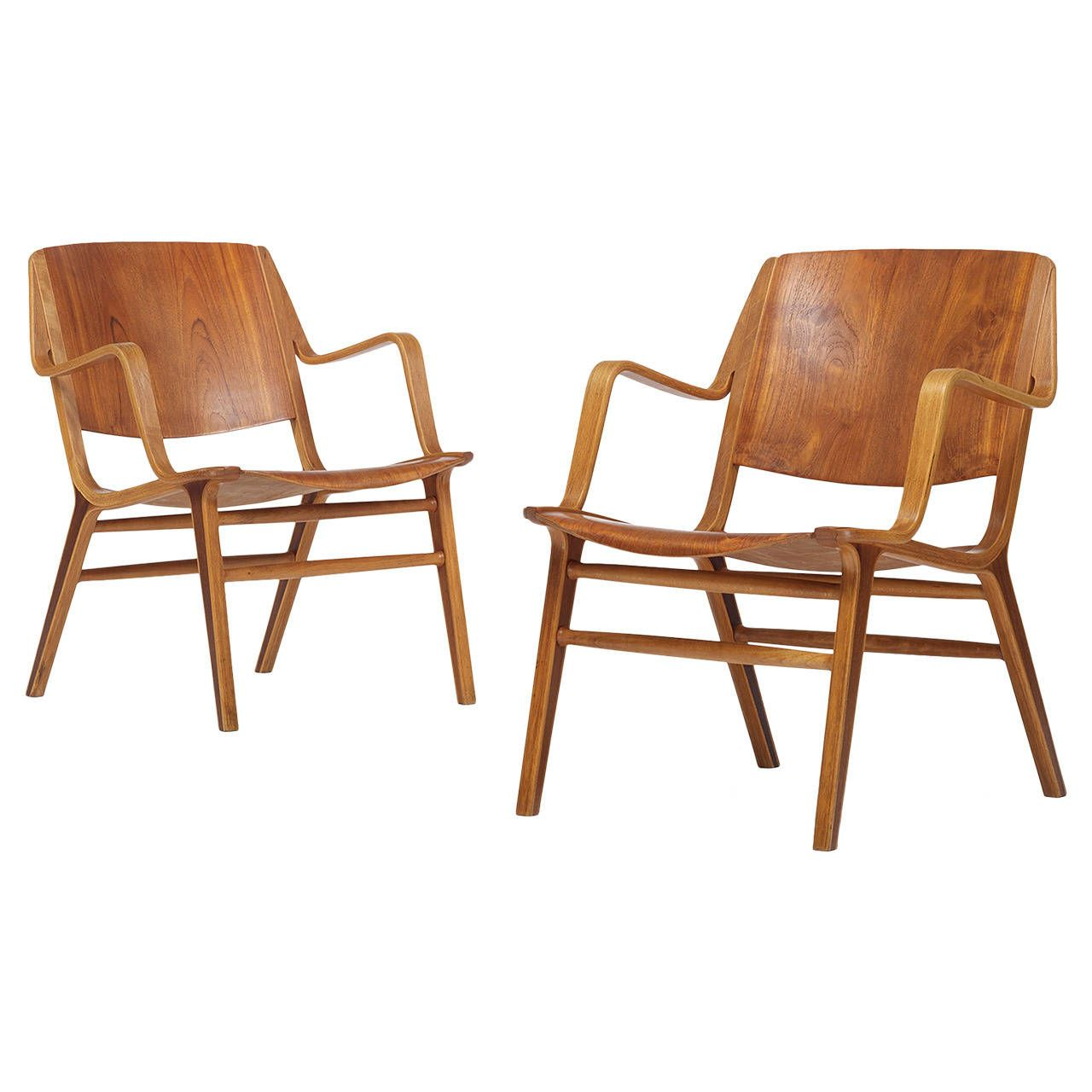 AX Chairs Model 6020, Pair by Peter Hvidt & Orla Mølgaard