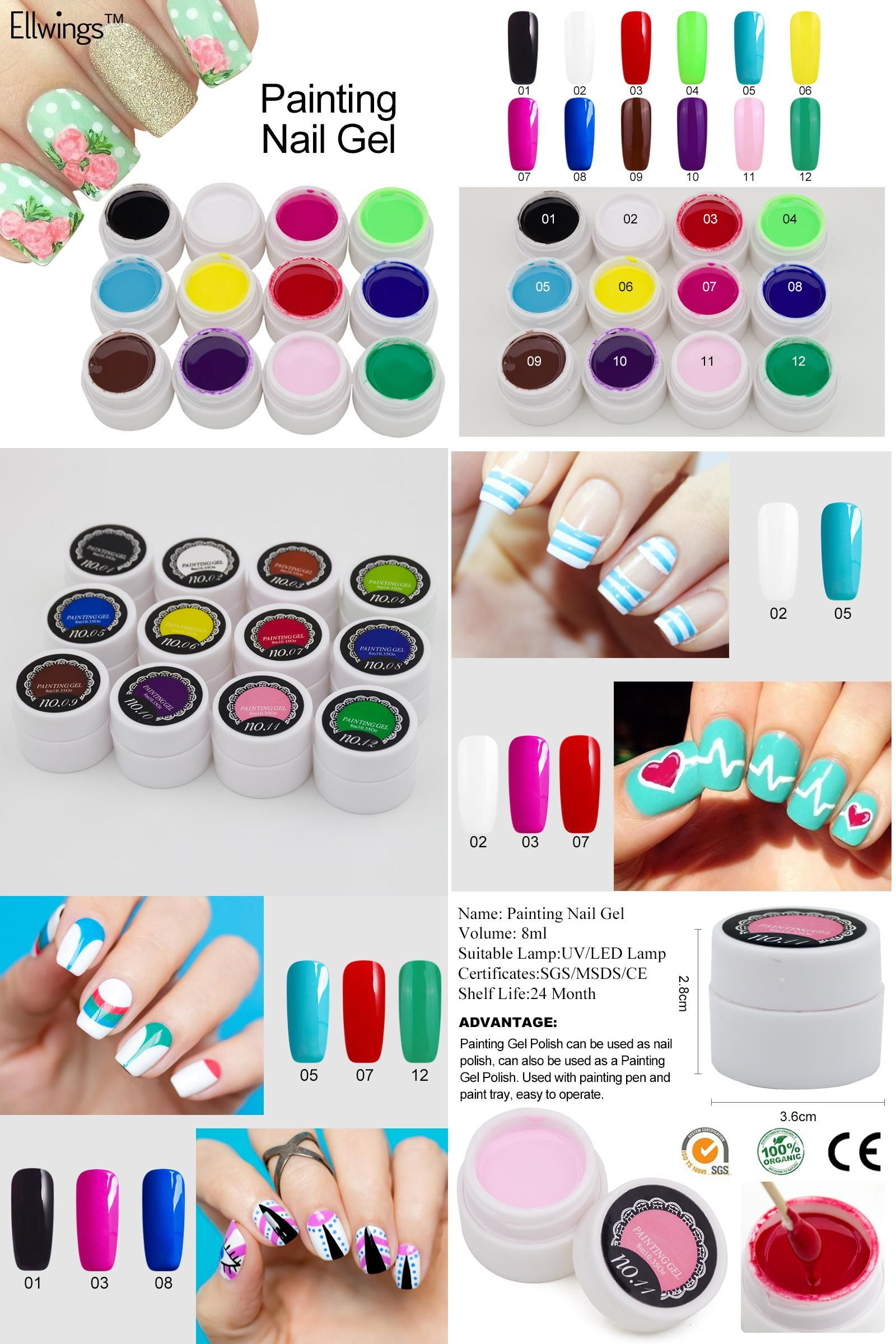 Visit to Buy] Ellwings 3D Glitter Painting Nail Gel Polish Semi ...