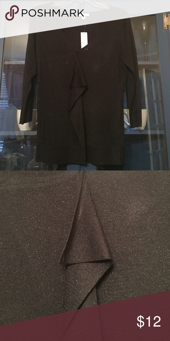 Silver Shimmer Top 3/4 sleeve black ruffle front top with a silver shimmer New York & Company Tops