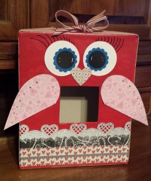 Valentine Decorated Boxes: Valentine Card Box Owl