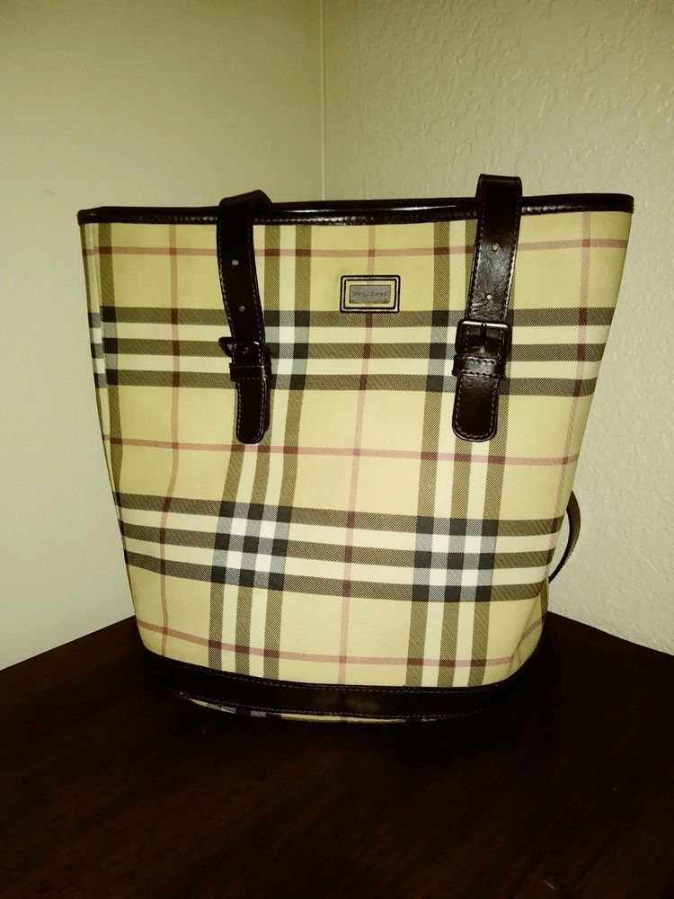 Authentic BURBERRY Leather Nova Check Shoulder Tote Bucket Brown Jacquard  Bag aefa4f5a456ea