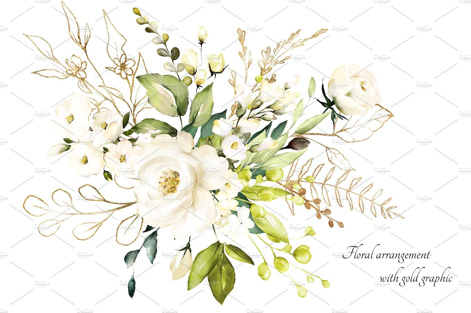 White Roses Watercolor Floral Set Floral Watercolor Flower
