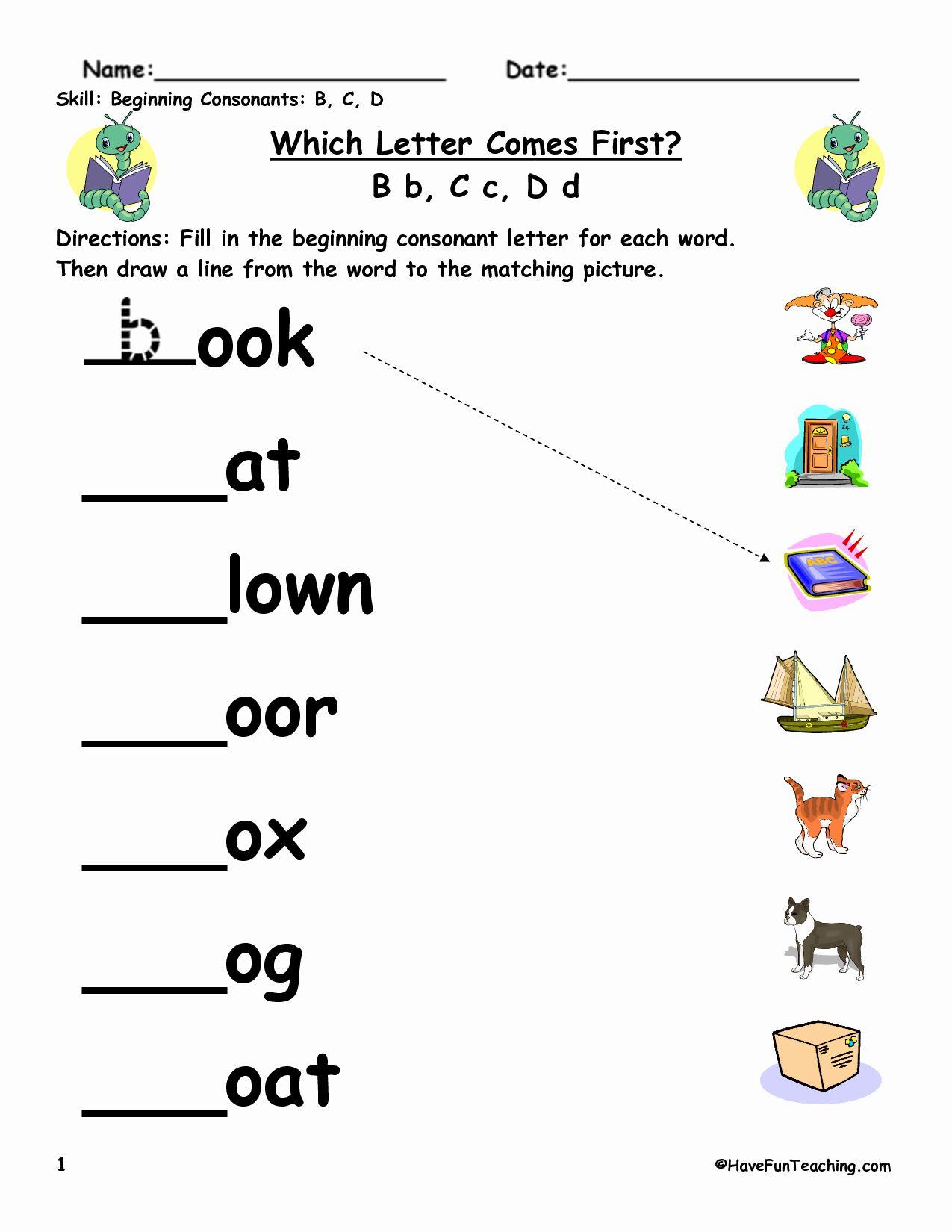 Beginning Sounds Phonics Kindergarten Kindergarten Phonics Worksheets Word Work Kindergarten [ 1325 x 1024 Pixel ]