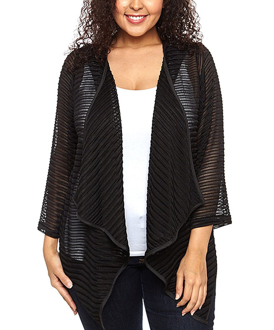 Loving this Black Drape Open Cardigan - Plus on #zulily! #zulilyfinds