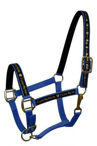 Lime Average horse size nylon halter with neoprene lined nose and crown
