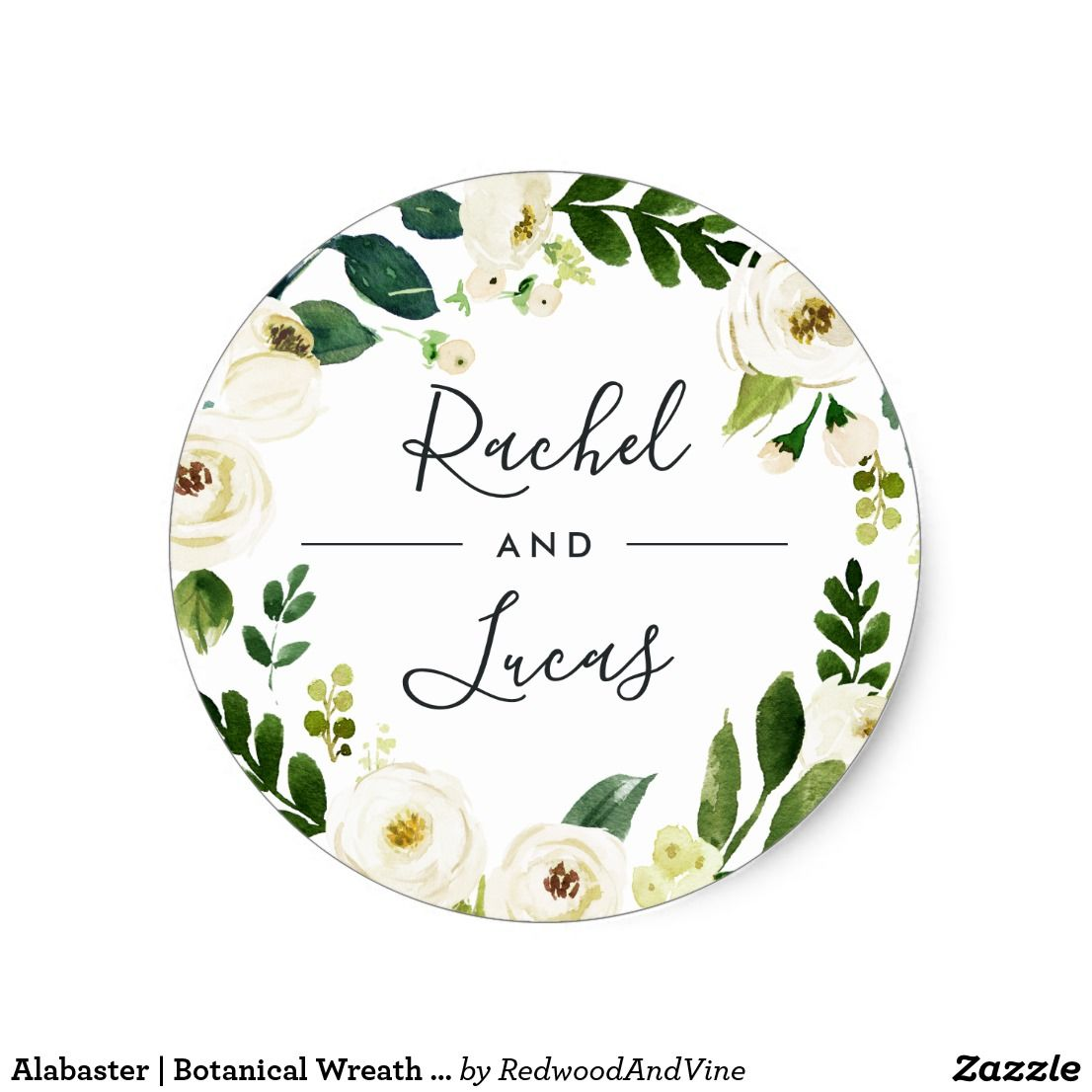 Alabaster | Botanical Wreath Wedding Classic Round Sticker | Wedding ...