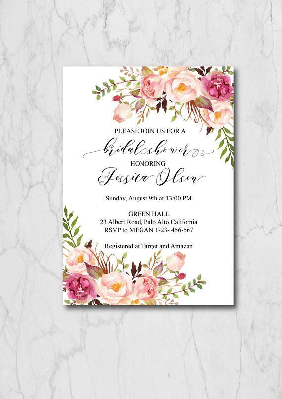 Boho Chic Bridal Shower Invitation Template, Blush Floral Bridal