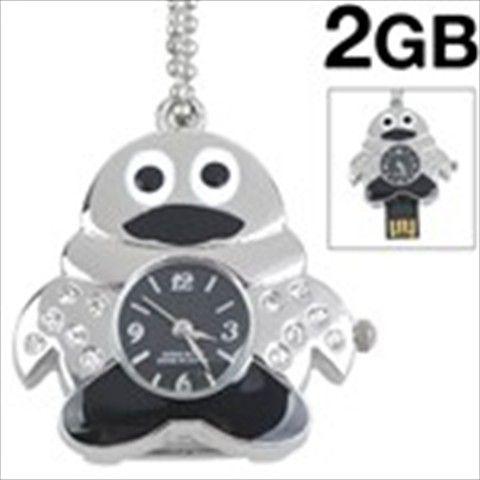 Cute Penguin QQ Design USB 2.0 Flash Drive U Disk 2GB Memory Watch Rhinestones Accented Pendant