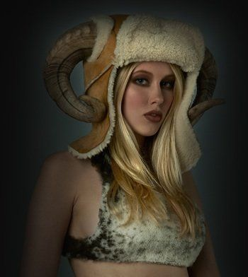 A shearling hat comes complete with sheep horns. I guess this works if you're a die hard Rams fan!