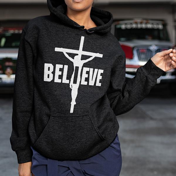I Believe, Jesus on the cross Christian hoodie | Christian apparel