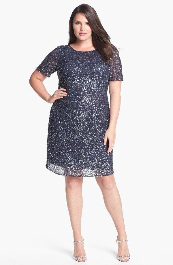 Pisarro Nights Draped Back Beaded Dress (Plus Size) | Vestidines ...