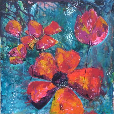 Digitalt Billede Af Maleriet Sommerblomster Primaer Farve Rod Sekundaer Farve Bla Kunst Ideer Maling Malerier