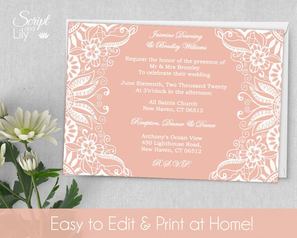 Delightful Printable Lace Invitation Template | FREE Color Changes | Wedding | INSTANT  Download | EDIT Text With Pages Invitation Templates Free