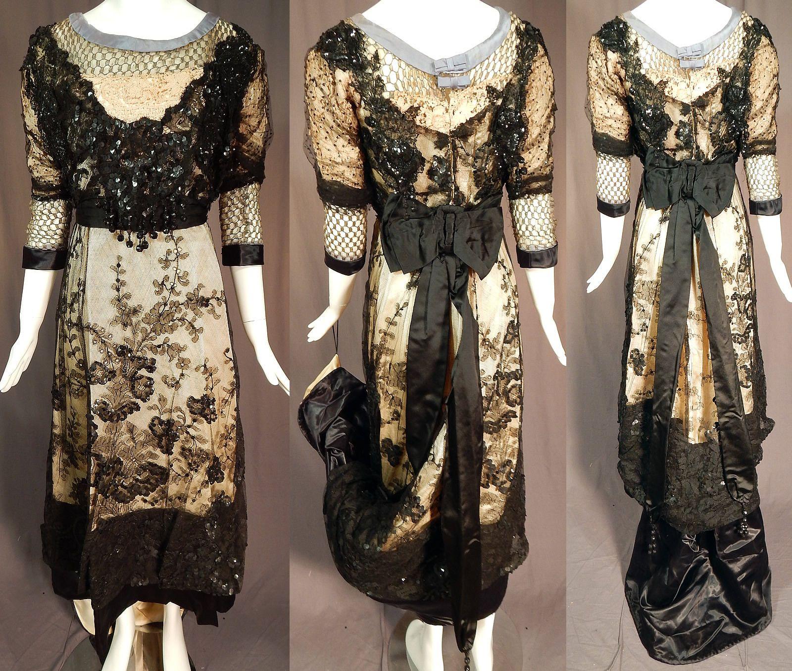 Edwardian Titanic Black Chantilly Lace Beaded Ball Gown Dress Skirt ...