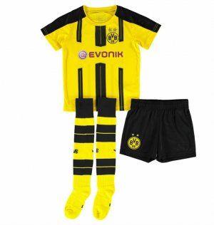Kids Dortmund 16 17 Season Home Soccer Shirts Whole Uniform Shirt Shorts Socks Camisetas Esportes