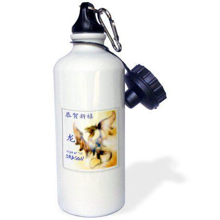 3dRose Dragon G, Sports Water Bottle, 21oz, White