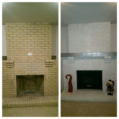 White Wash On Yellow Brick White Wash Brick Fireplace White Brick Fireplace Brick Exterior House