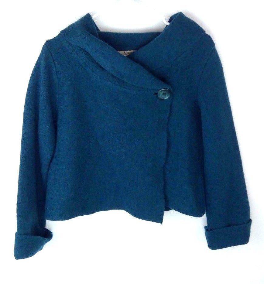 A. Ida Shrug Sweater Green Wool Sz M Button Front Cropped Boxy ...