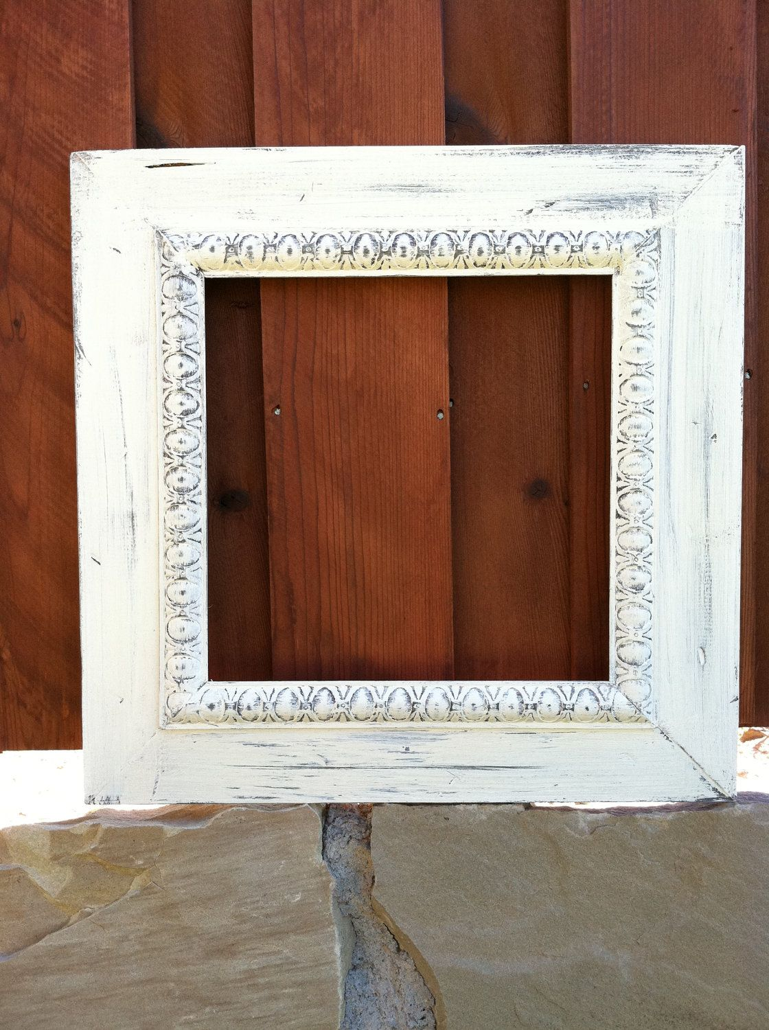 12x12 Distressed Wood Frame in ASCP Old White w/ oval trim. $70.00 ...