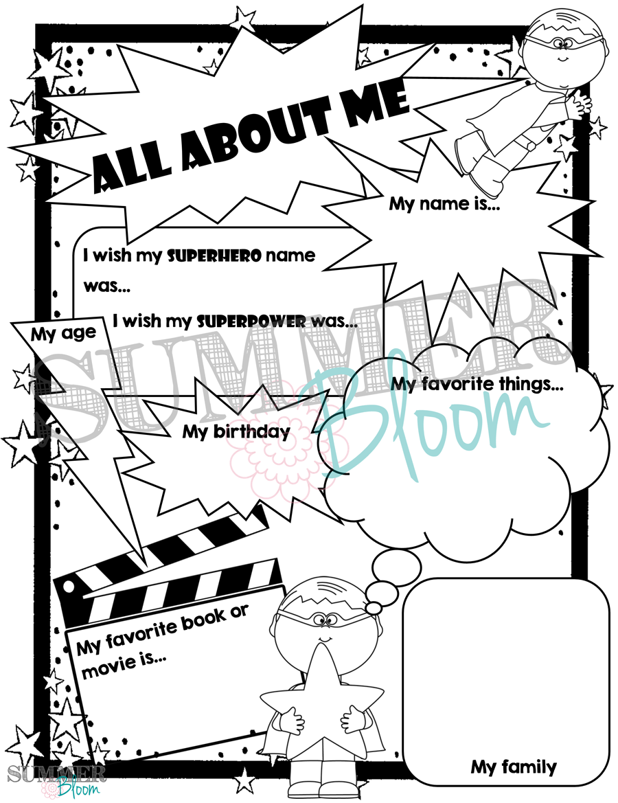 First day of summer coloring pages - Superhero Themed All About Me Pages From Summerbloom Perfect For The First Day Of School