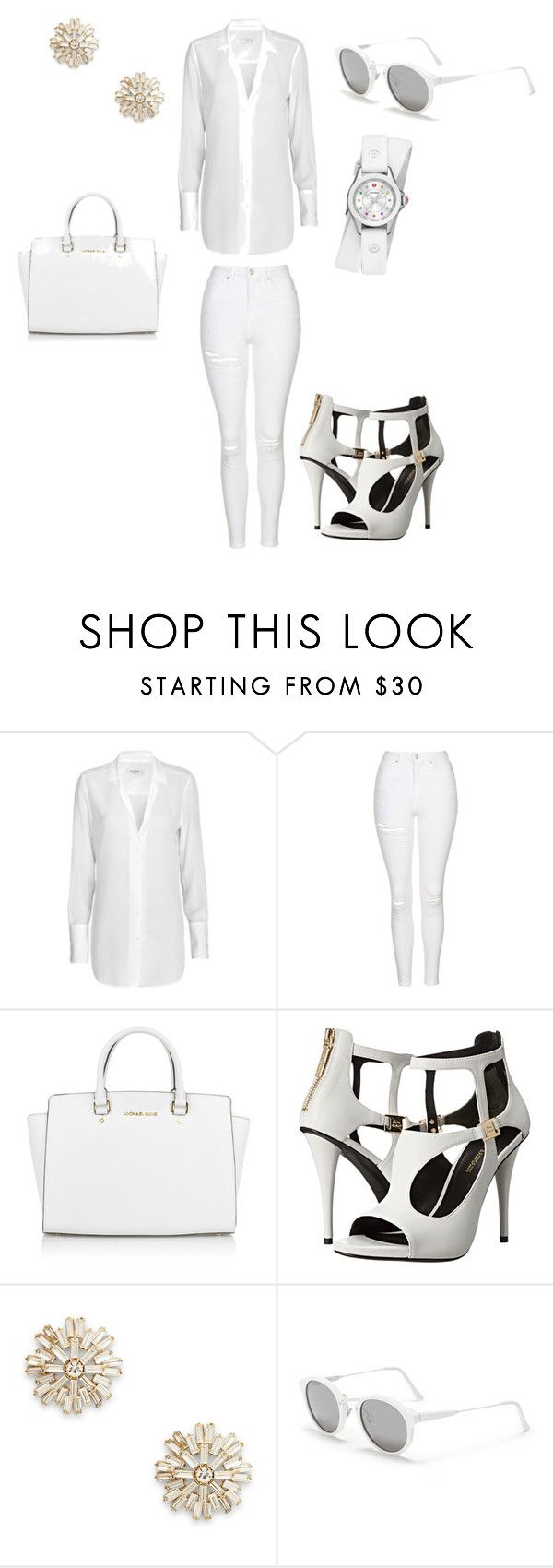 """Untitled #13"" by christinalove99r ❤ liked on Polyvore featuring Equipment, Topshop, Michael Kors, Pierre Balmain, Sole Society, RetroSuperFuture and Michele"