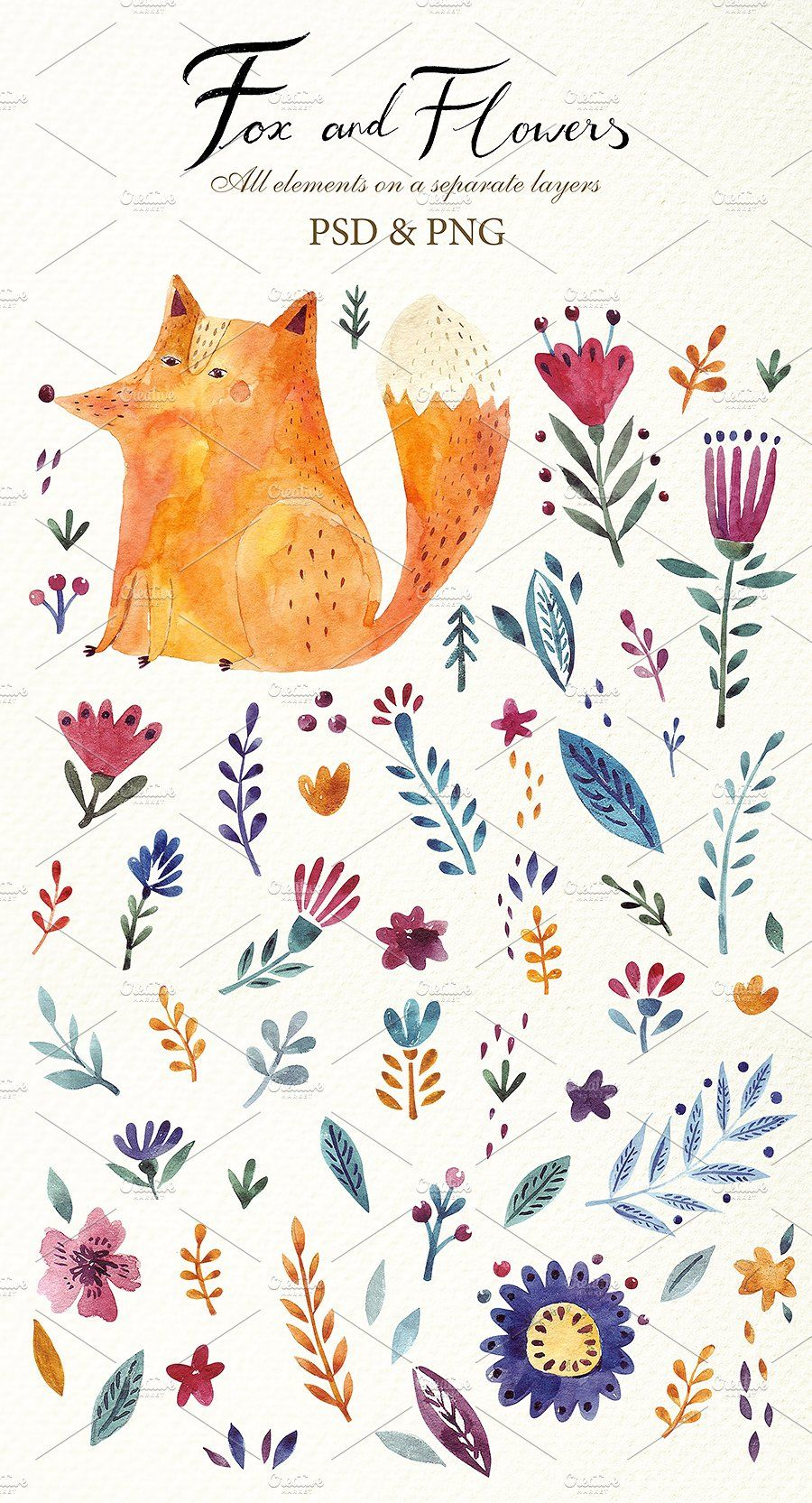 Fabulous Flowers and Animals by MoleskoStudio on @creativemarket