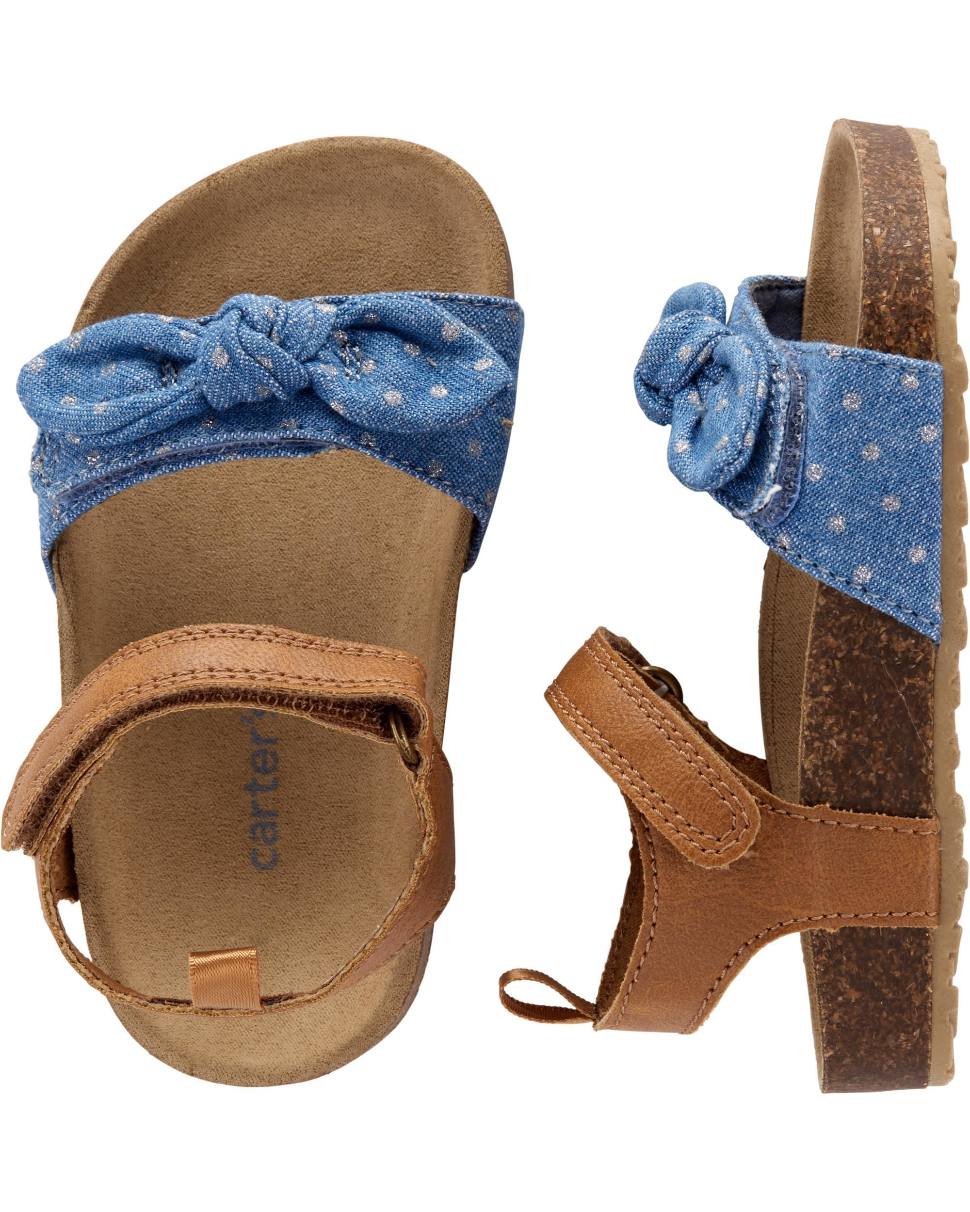 4569463e7180 Baby Girl Carter s Chambray Cork Sandals
