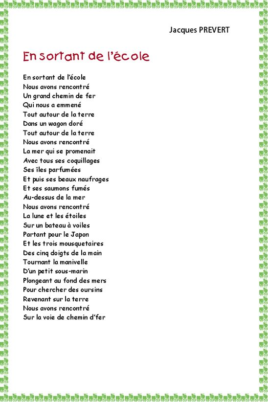 Poésie En Sortant De Lécole De Prévert Prevert Jacques