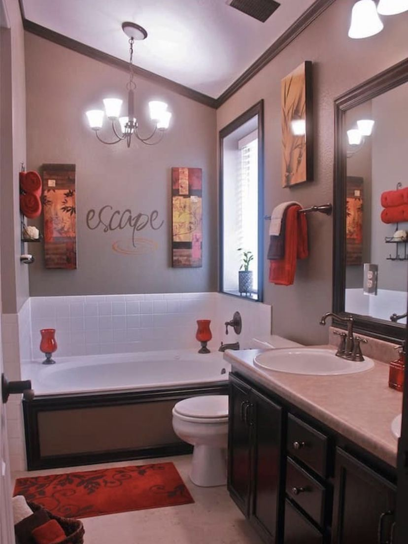 Red And Brown Red Bathroom Decor Bathroom Red Restroom Decor
