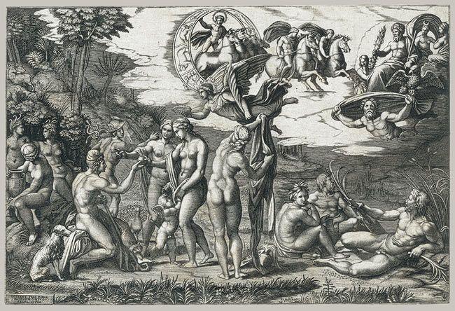 The Judgment of Paris, ca. 1510–20 Marcantonio Raimondi (Italian, ca. 1480–before 1534); Designed by Raphael (Raffaello Sanzio or Santi) (Italian, Marchigian, 1483–1520) Italian Engraving; 11 1/2 x 17 3/16 in. (29.2 x 43.6 cm)