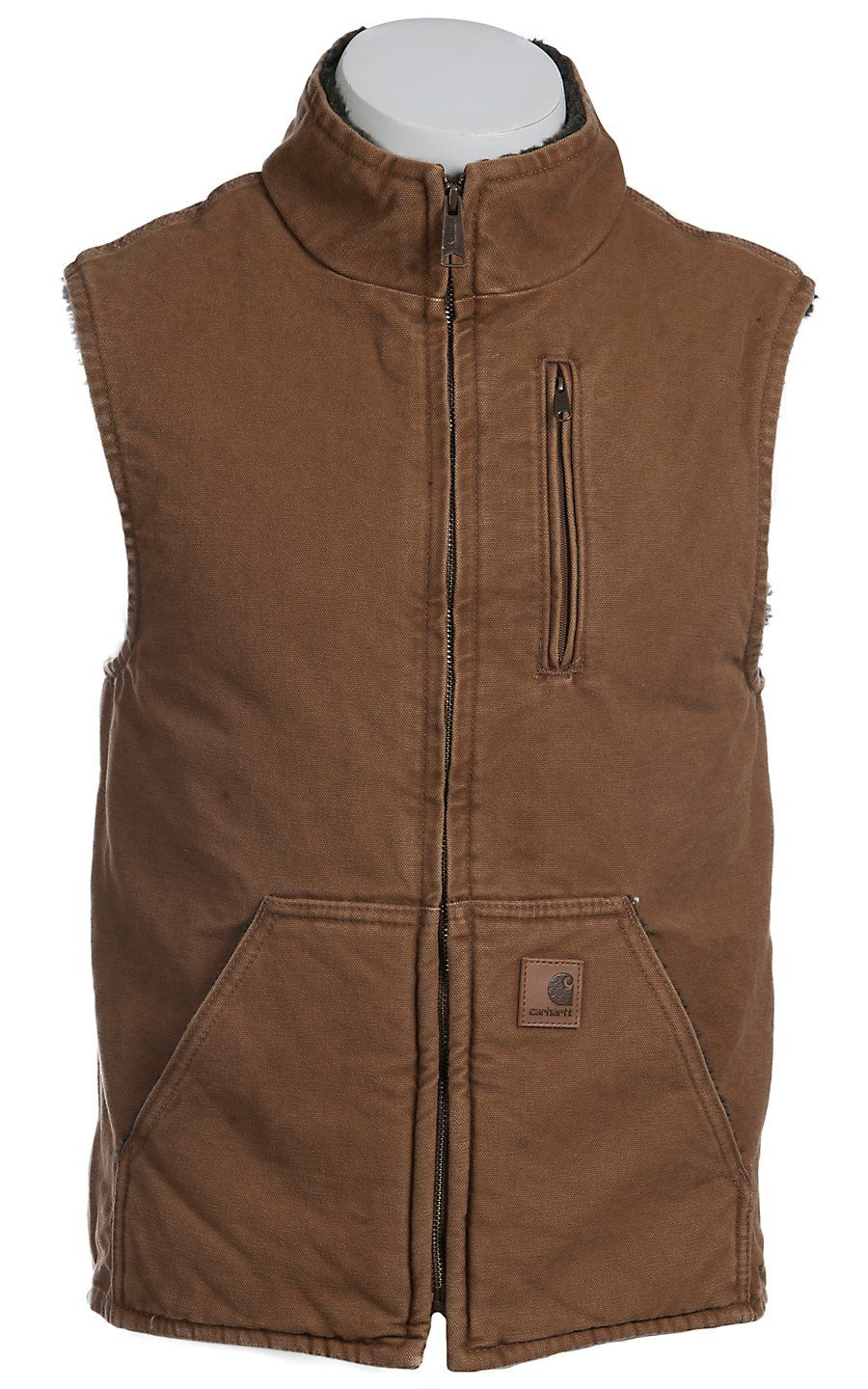 Carhartt Brown Sandstone Lined Mock Neck Vest Mens Attire Leather Waistcoat Outdoor Outfit [ 1440 x 900 Pixel ]