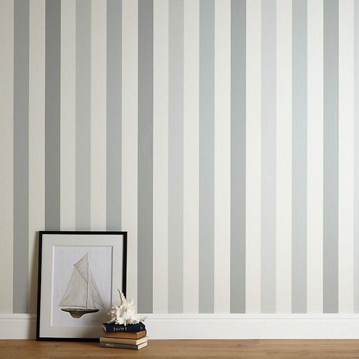 John Lewis Padstow Stripe Wallpaper, Putty/Grey