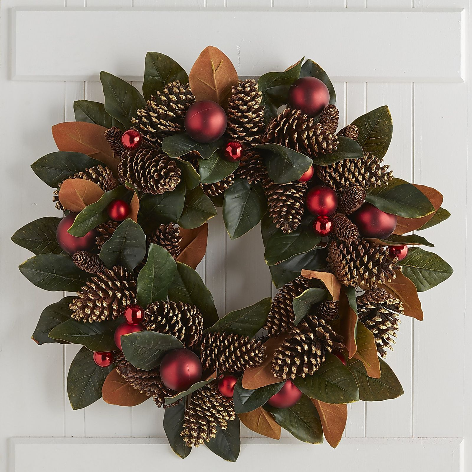 Could Easily Diy This Pier 1 Oversized Faux Magnolia Wreath Perfect For Mantels And Faux Magnolia Wreath Pine Cone Christmas Decorations Christmas Porch Decor
