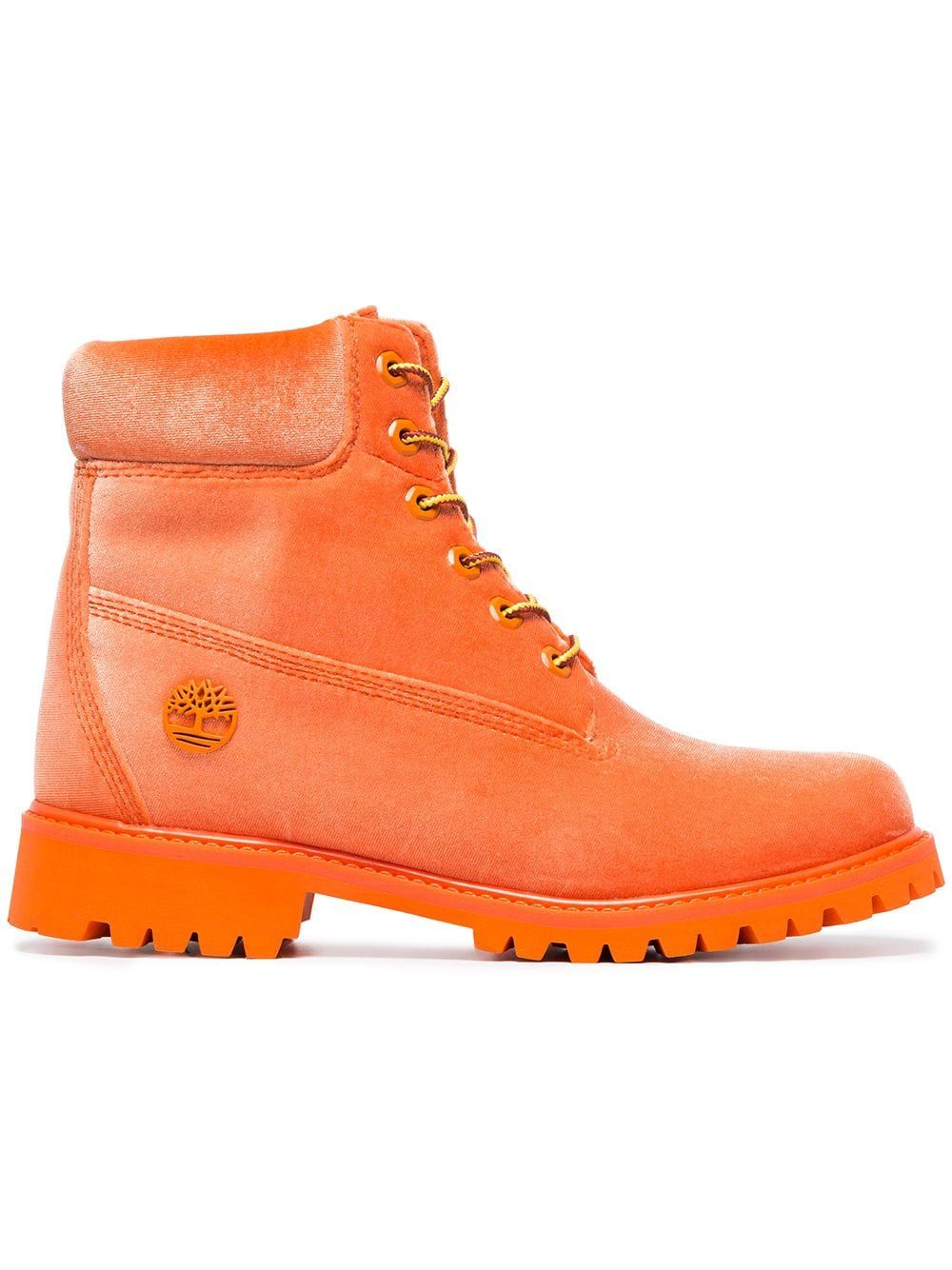 Off White x Timberland orange velvet boots Yellow