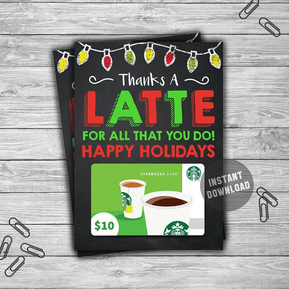 PRINTABLE Christmas Gift Card Holder Thanks A Latte - INSTANT - printable christmas gift certificate