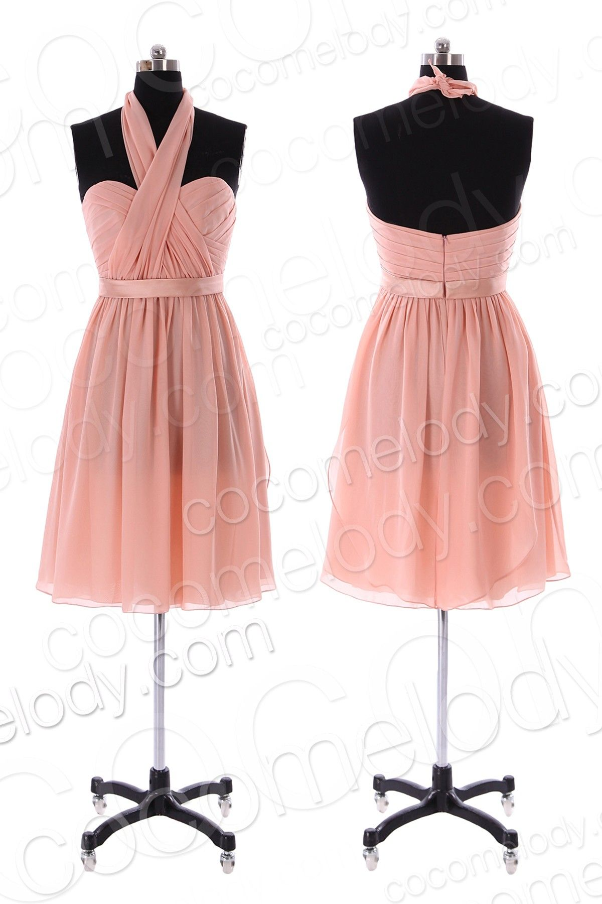 Classic A-Line Knee Length Chiffon Convertible Bridesmaid Dress with ...