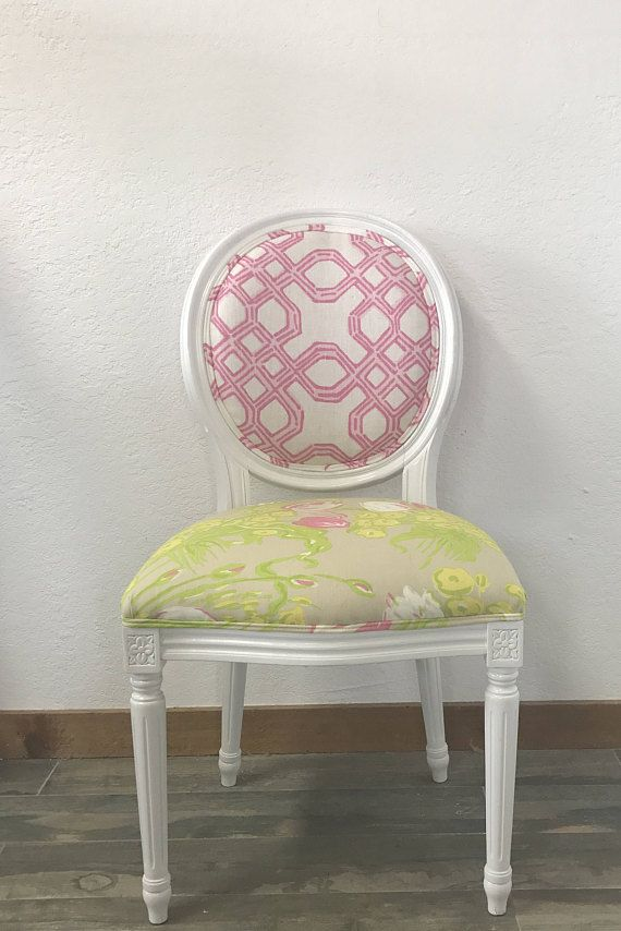 Chair Connected To Desk Baby Acapulco Round Back Louis Xv French Style Lilly Pulitzer Lee Jofa Well White Pink Dining