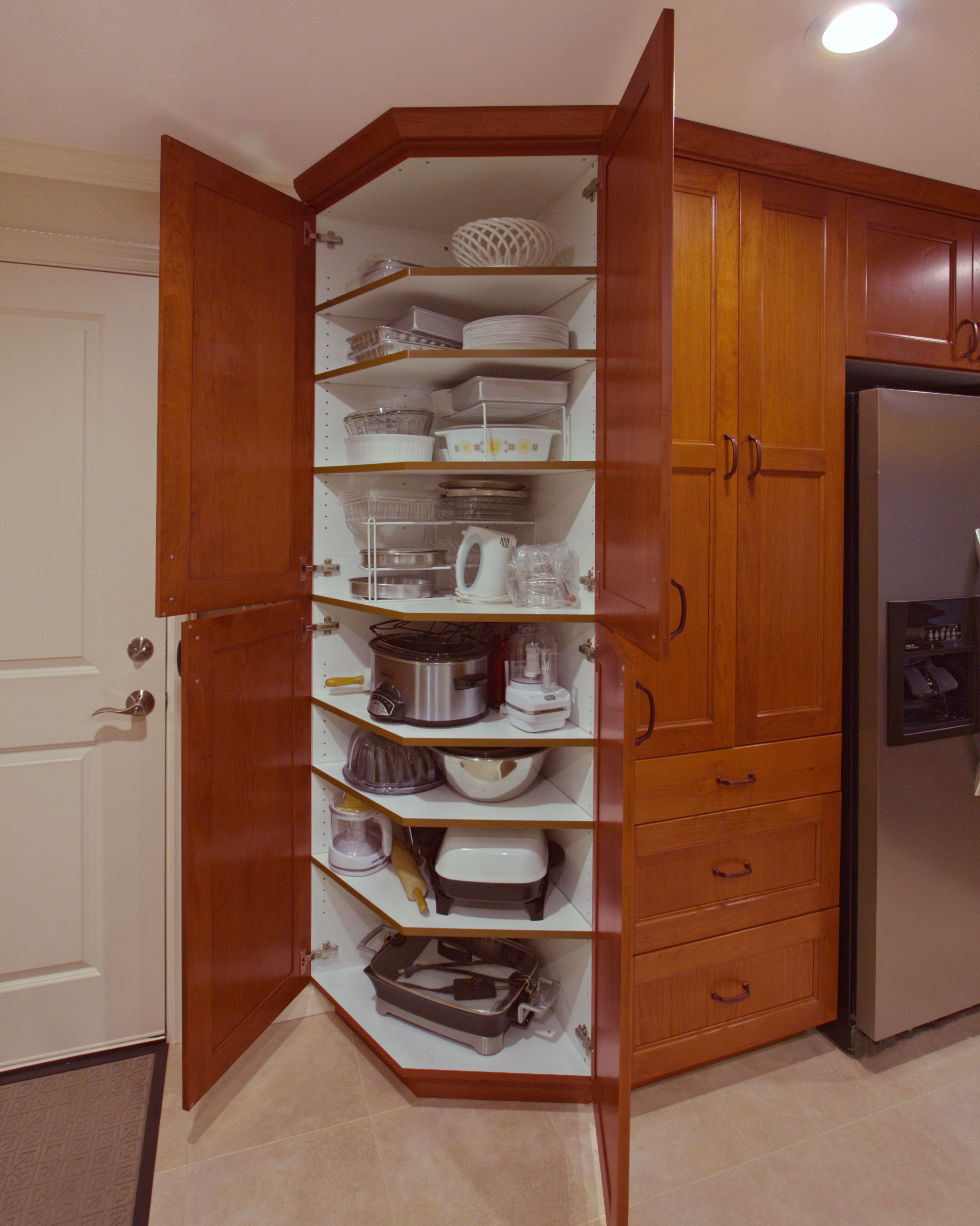 Kitchen Pantry Storage Solutions: Angled Pantry Anyone? Esthetics And Functionality All In