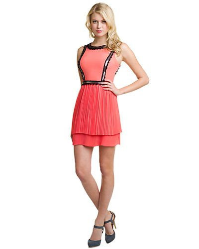 plenty by Tracy Reese Neon Coral Pleated Dress