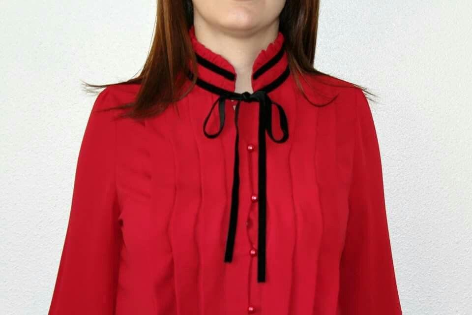 791af5358f2e Blusa lazo roja   camisas y camisetas   Blusas con lazo, Blusas y ...