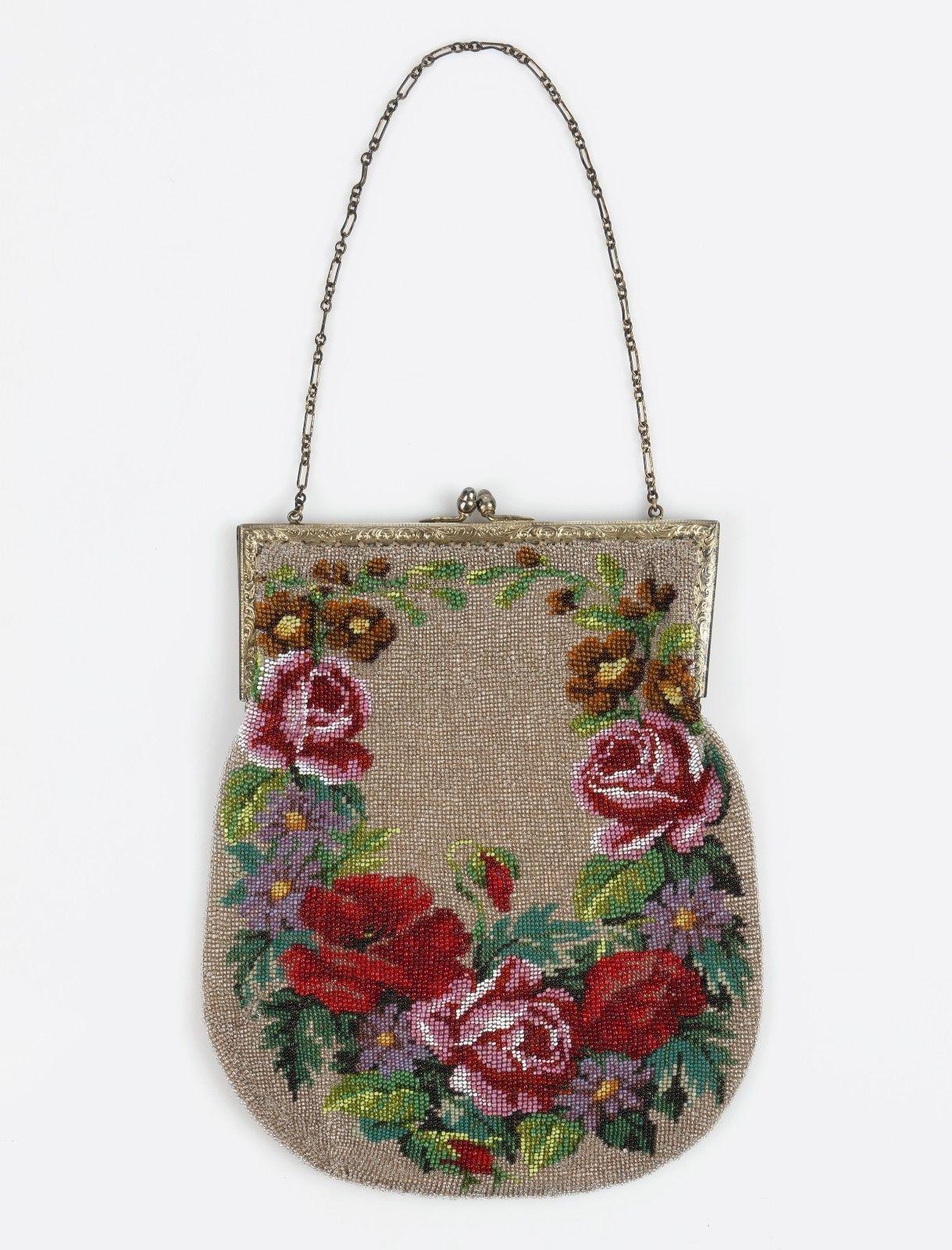 Vtg 1910s 1920s Multi Color Fl Micro Beaded Large Evening Bag Purse Ebay