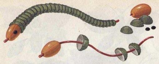 serpent avec des chapeaux des glands