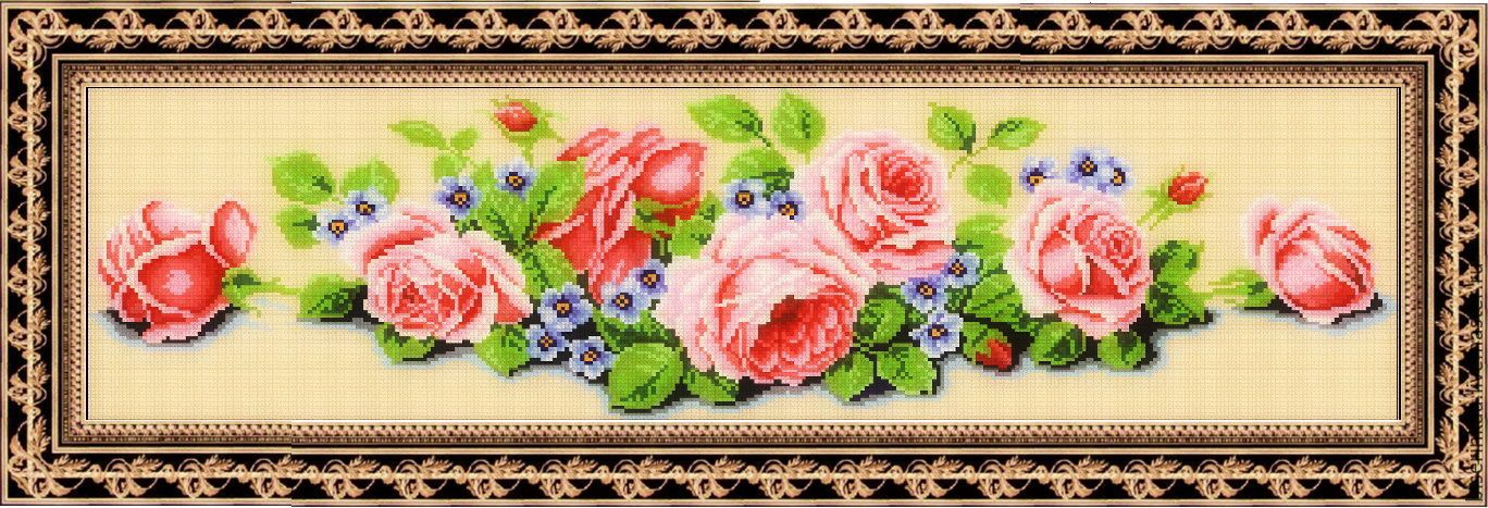 Вышивка панелей с розами